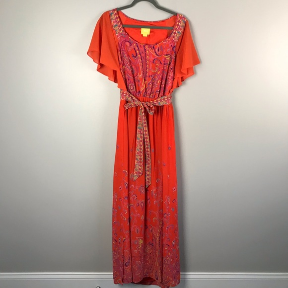 Anthropologie Dresses & Skirts - Maeve Orange Maxi Dress size 12 Anthropologie